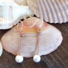 Big Hole Pearl and Leather Earrings .925 Sterling Silver Made In The USA E21 ~~~