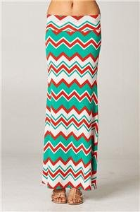 Womens Small Skirt New With Tags Chevron Skirt Maxi Zig Zag Skirt Soul of the Sea
