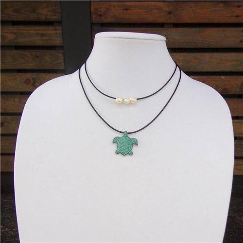 Mykonos Sea Turtle and Large Hole Pearl Leather Necklace Boho Chic N135 ~