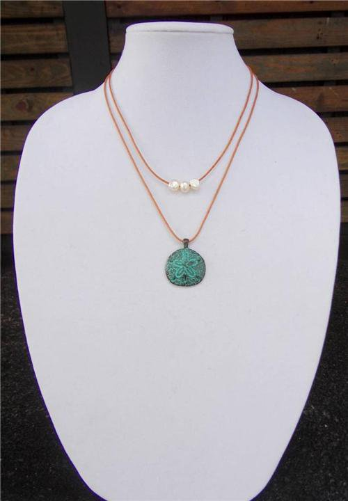 Mykonos Sand Dollar Pendant and Large Hole Pearl Leather Necklace Boho Chic N138