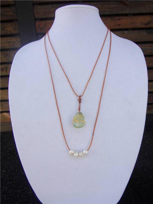 Large Hole Pearls and Leather Necklace Wire Wrapped Glass Boho Chic N409 ~~~~~~~