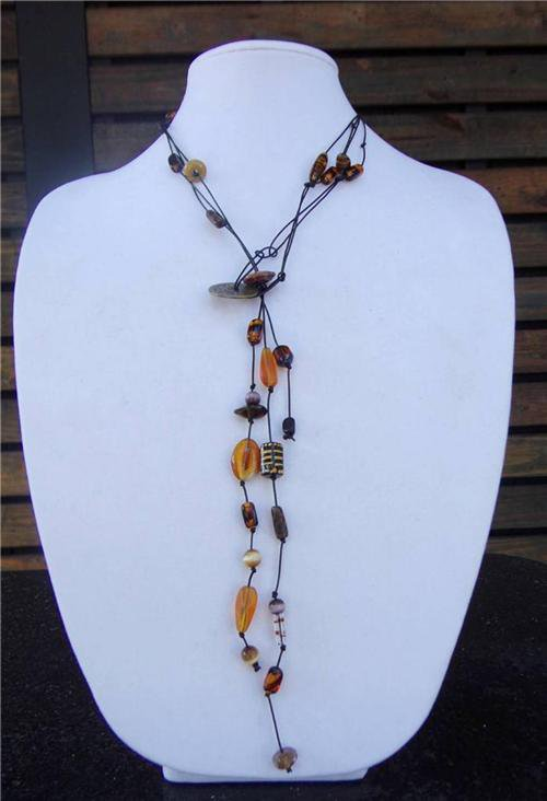 Glass Beaded Leather Necklace Made In The USA Boho Chic N411  ~~~~~~~