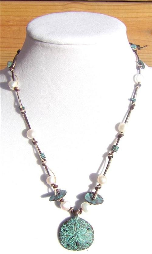 Freshwater Pearls and Leather Necklace Greek Green Patina Sand Dollar Beach 504~