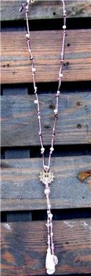 Freshwater Pearls and Leather Necklace SP Sand Dollar Cluster Pearl Charm 506 ~~