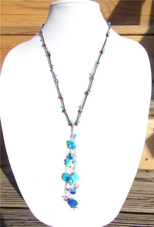 Knotted Leather Necklace Glass Beads Glass Fish Beads Ocean Blue Beach Beads 525