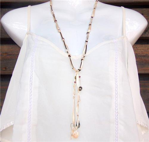Leather and Pearl Necklace Hand Knotted Leather Freshwater Pearls N600 ~~