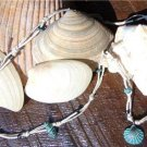 Green Patina Sea Shell Necklace Green Patina Charms Hemp Rope Glass Beads N603 ~~~