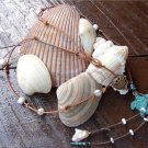 Green Patina Sea Turtle Necklace on Knotted Leather Pearl Cluster Shell N608~