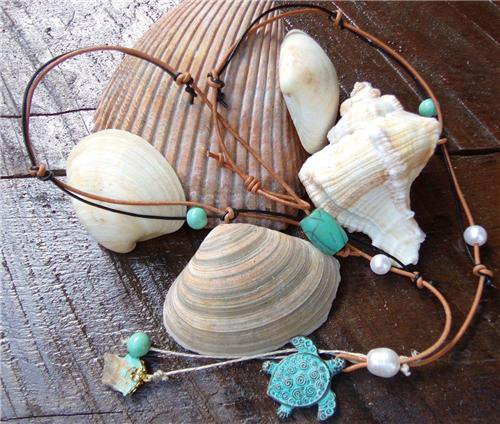 Sea Turtle Necklace on Knotted Leather Freshwater Pearls Turquoise N612 ~~~~~