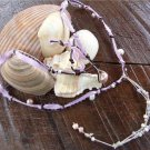 Pearl and Leather Necklace With Blush Pearls and Purple Ribbon N617 ~~~~