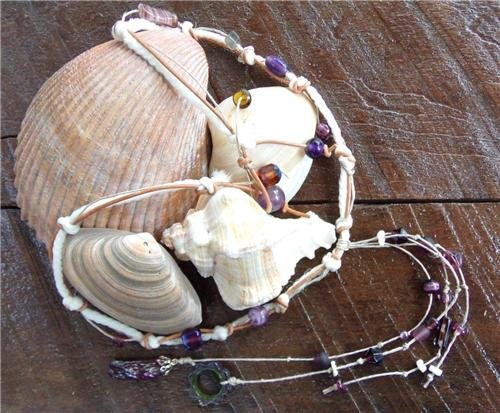 Knotted Leather Necklace With Knotted Hemp Rope and Glass Beads N622 ~~~~