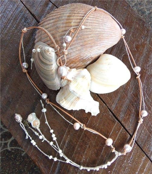Leather and Pearl Necklace Shell Charm Pearl Cluster and Glass Beads N623 ~~