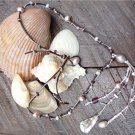 Pearl and Leather Necklace Pearl Cluster And Glass Beads Beach N632 ~