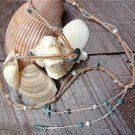 Pearl and Leather Necklace Green Patina Sea Shells And Glass Beads Beach N633 ~ ~
