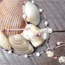 Pearl and Leather Necklace 14K GP Sand Dollar Pearl Cluster Glass Beads Beach N634 ~