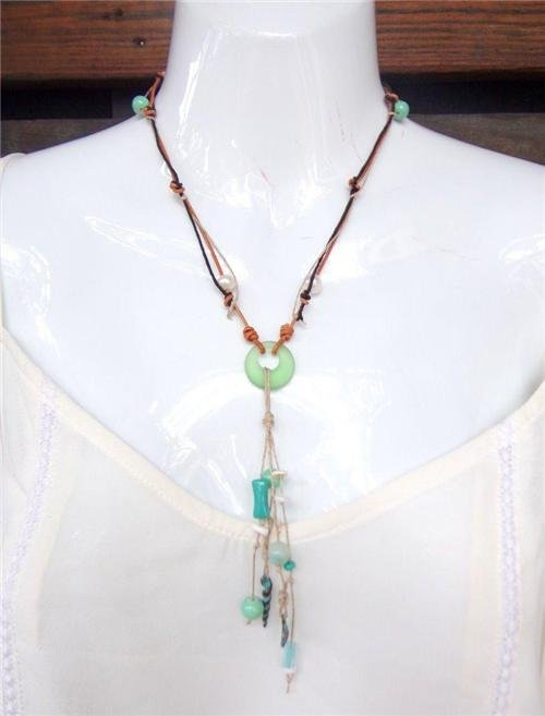 Pearl and Leather Necklace Sea Glass Green Patina Sea Shells Beach N635 ~~