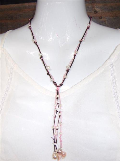 Pearl and Leather Necklace Pearl Cluster Glass Beads Beach Necklace N638 ~~