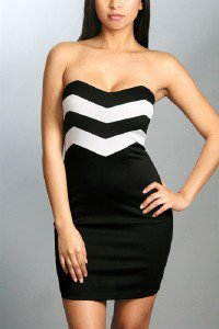 Womens Large Dress * NEW* Black and White Chevron Dress Strapless Mini Dress ~~