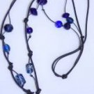 Gilligan's Glass Beads and Leather Necklace Handmade in the USA Original Unique