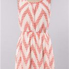 Womens Medium Dress NWT Medium Coral Chevron Dress Lined Gilligan's Boutique
