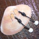 Large Hole Pearl and Leather Earrings Silver Plated Hand Made In The USA E200 ~~