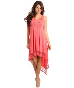Womens Small Medium or Large Dress NEW High Low Dress Emerald Peach or Black