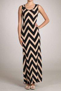 Womens Medium Dress * NEW*  Brown Maxi Chevron Dress Gilligans Boutique SOF USA