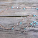 Glass Bead and Leather Necklace Greek Green Patina Boho Chic Necklace N500  ~