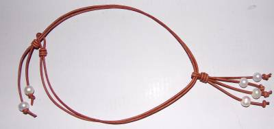 Pearl and Leather Necklace Large Hole Beads Gilligans Made In USA ~~~~~~~~~