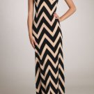 Womens Large Dress * NEW*  Brown Maxi Chevron Dress Gilligans Boutique SOF USA