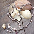 Pearl and Leather Necklace Pearl Cluster Charm 14k Freshwater Pearls N626 ~