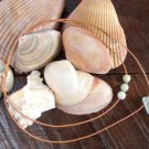 Glass Sand Dollar and Large Hole Glass Beads Leather Necklace Boho Chic N139 ~