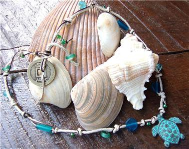 Green Patina Sea Turtle Necklace on Knotted Leather with Glass Beads N607~