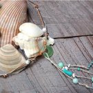 Pearl and Leather Necklace Sea Glass Green Patina Sea Shells Beach N635 ~