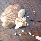 Pearl and Leather Necklace Polished Stone Charm 14k Freshwater Pearls N625 ~~