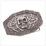 38300 pewter skull belt buckle