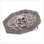 38300 pewter skull belt buckle