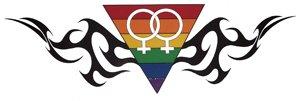 Gay Pride Women's Yang Rainbow Tribal Sticker