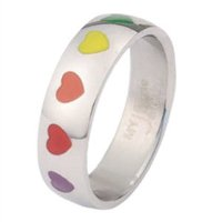 Gay Pride Rainbow Hearts Stainless Steel Ring Size 10
