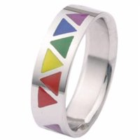 Gay Pride Rainbow Triangles Stainless Steel Ring Size 11