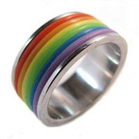Gay Pride Rainbow PVC Stainless Steel Ring Size 10