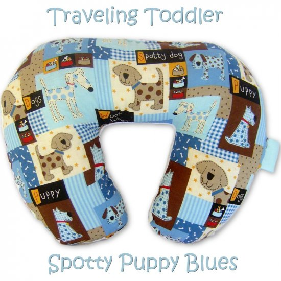 Traveling Toddler - Luxury Pillow Neck Wrap - Spotty Puppy Blues Trendy