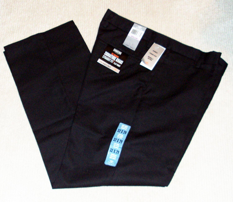 Dockers Men�s Signature Khaki Straight Fit Flat Front 32x29 Black NWT