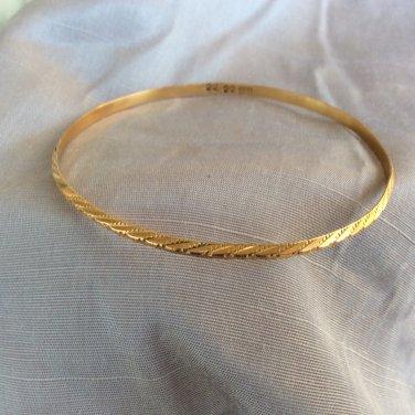 Egyptian 22K Solid Gold Etched Design Bangle Bracelet