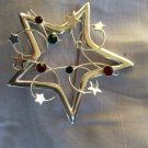 Open Star Wire Wrapped Silver Tone w/Red, Green, Clear Rhinestones and Stars Pin