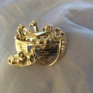 Noah's Ark Gold Tone Fashion Brooch Pin