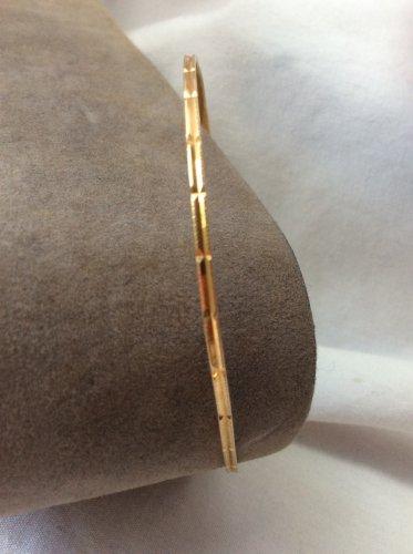 18K Yellow Gold Slip On Etched Bangle Bracelet, Vintage