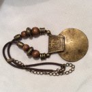 Brass Bulla with Brass and Wood Beads Adjustable Necklace, VCLM TM