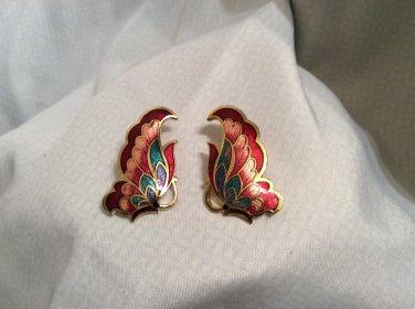 Butterfly Cloisonne Enamel gold Tone Pierced Earrings, Signed S G; VTG
