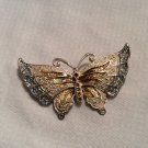 Butterfly Blue Glitter and Brown Enamel Silver Tone Brooch Pin